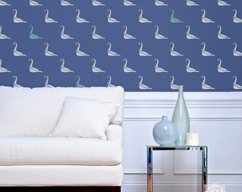 Swan Lake Allover Wall Stencil for Wallpaper Look