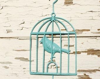 Aqua bird cage hook