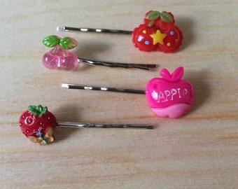Kawaii strawberry cherry and apple bobby pin set
