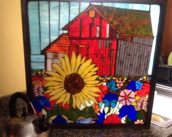 Stained glass mosaic wall art decor hanging