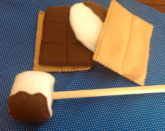 Felt Toy Food,Smores,Camping Food,Camping Gear