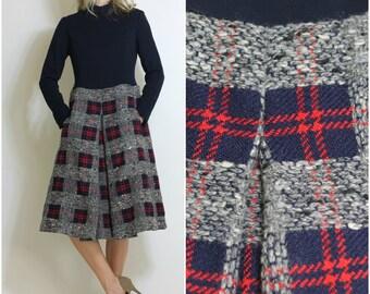 Vintage 60s Dress Mod Plaid Winter Dress Gorgeous Plaid Houndstooth Pleated Skirt Pockets