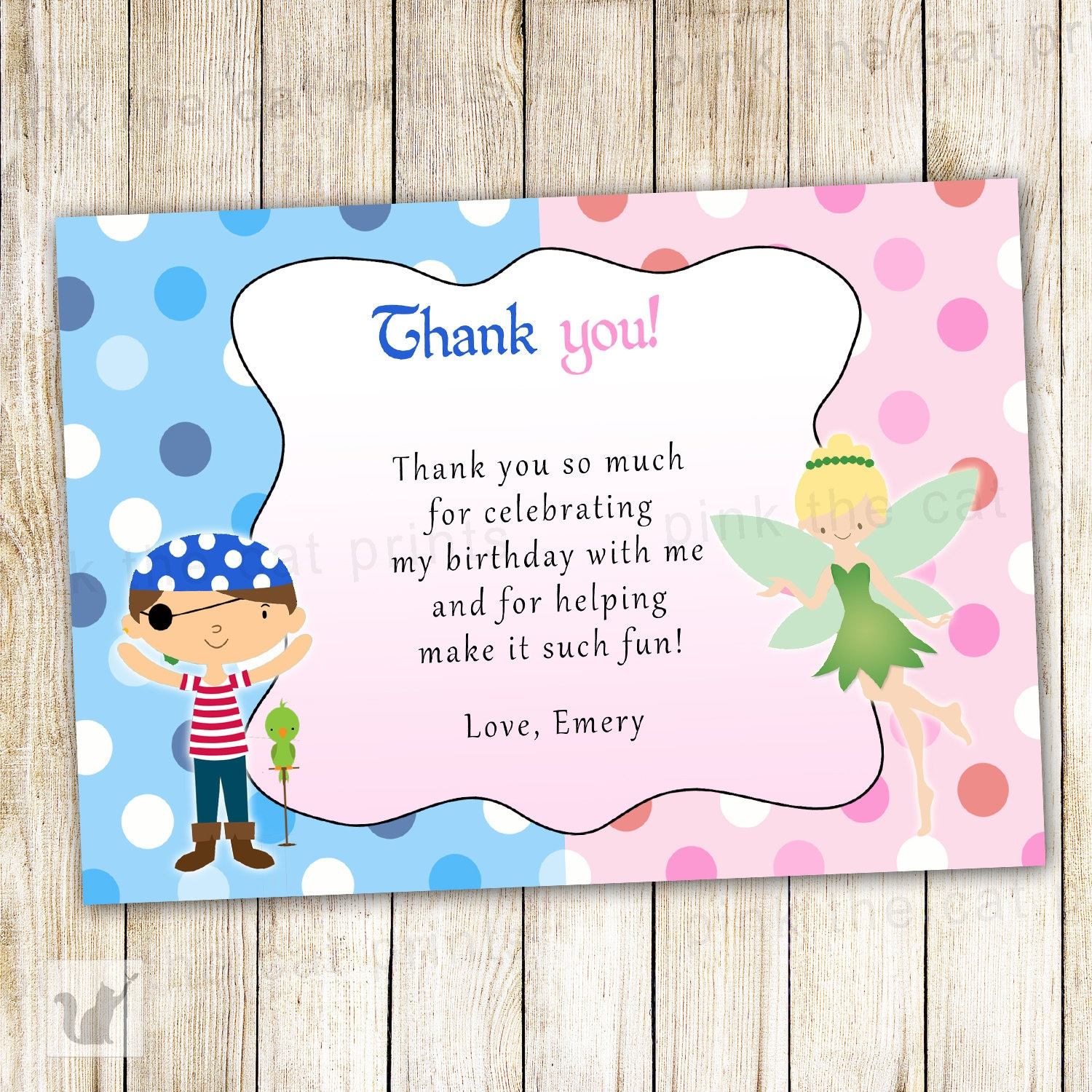 Pirate Fairy Thank You Card Pixie Pink Blue Kids Birthday