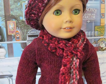 Hand knit Doll Hat,  Knit Hat and Scarf, Slouchy Hat, 18 inch  Doll Accessories