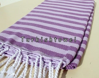 Turkishtowel-NEW Colors, Soft-High Quality,Hand Woven,Cotton Bath,Beach,Pool,Spa,Yoga,Travel Towel-Purple,Light Wisteria Stripes
