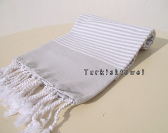 Turkishtowel-NEW Colors, Soft-High Quality,Hand Woven,Cotton Bath,Beach,Pool,Spa,Yoga,Travel Towel-Beige,White Stripes