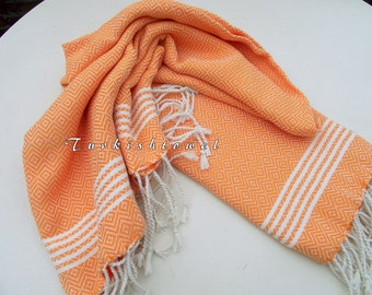 Turkishtowel-NEW Set of 2-Hand woven Peshkirs-Hand towels,Tea towels,Dish towels,Neck Warmers,Bath Towels-Cream stripes on Orange