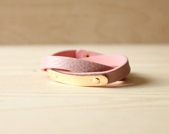 YC Gold Brass Soft Togo Leather Bracelet(Pink)
