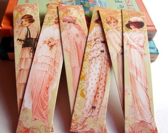 Bookmarks - Victorian Edwardian Women Vintage Fashion Ladies In Long Dresses Hats Pink Rose Flowers  - Set Of 6 Large Paper Bookmarks