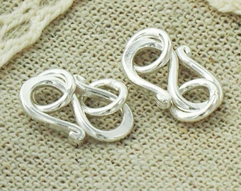 4 of Karen Hill Tribe Silver Clasps 14 mm. :ka3342