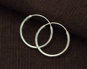 4 pairs of 925 Sterling Silver Little Hoop Earrings 1.2x16 mm. :er0854