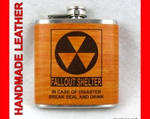 Fallout Shelter and Funny Leather Flasks - engraved in leather