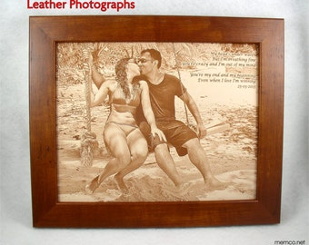 REAL LEATHER Photograph Engraved in Leather- Wedding Anniversary, 3rd Anniversary, Third Anniversary, Leather Anniversary, Gift for Her