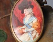 Vintage brass brooch, with paper inside, woman portrait