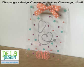 CLIPBOARD only - Personalized with name acrylic clipboard - Dental tooth or stethoscope, nurse, RN, doctor, practitioner, dental hygienist