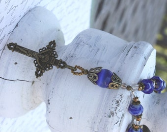 Decade Rosary of Royal Blue Faceted Czech Glass with Bronze Crucifix