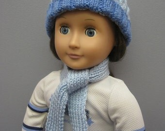 American Girl Doll Cabled Hat and Pom Pom Scarf
