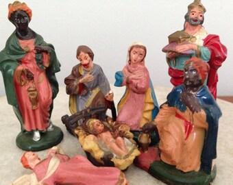 Items Similar To Vintage Plastic Manger Nativity 70s Era