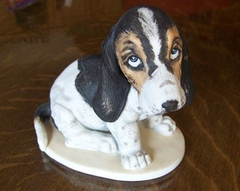 Darling Bassett Hound Dog with Sad Eyes Looking Right Up At You!  HomeCo Masterpiece Porcelain by Maruri