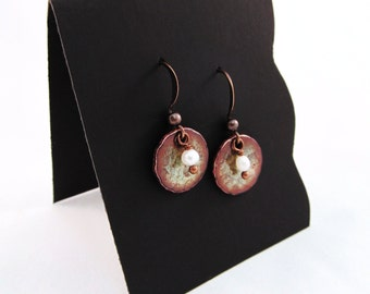 Patina-Green Hammered Circle Earrings with Pearl Drop