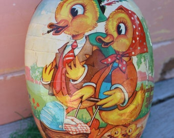 Vintage Cardboard Paper Mache Easter Egg Container, Made in Western Germany, Duck Couple, Large