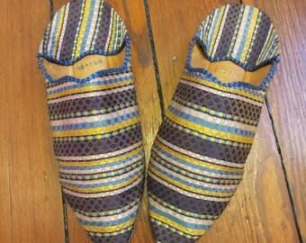 Vintage Antique Leather Silk Boho Flats Slippers 8