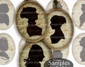 Silhouettes Antique Shabby Chic Ovals 30 x 40 Digital Paper Collage Sheet For DIY Jewelry Pendants Black Sepia Handwriting Decoupage 645