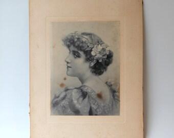 Antique 19th century photograph portrait of young lady