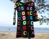 Crochet multicolour hippie boho coat OOAK