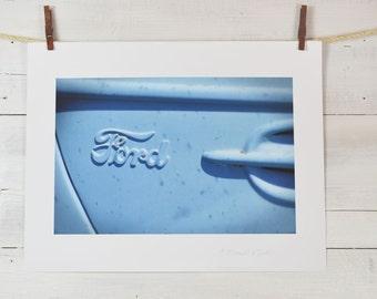 Blue Ford pickup embossed door emblem photograph, archival print