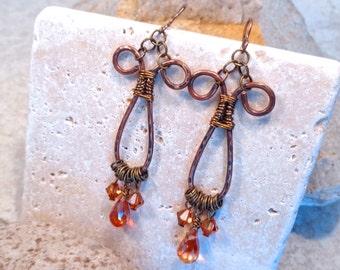 Boho Gypsy Wirewrapped Crystal Hoop Earrings