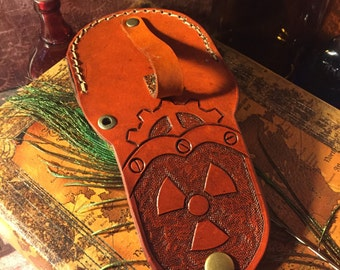 ON SALE!! Leather Pocket Watch Case Antique Saddle Tan Radiation Symbol - Hand Crafted Steampunk Belt Accessory