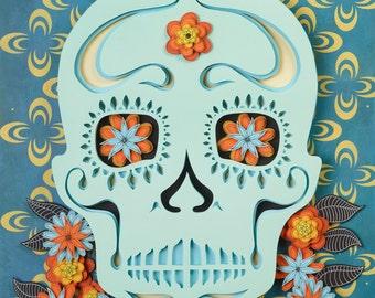 Day of the Dead, Sugar Skull, #8, candy skull, skull, 3D, paper cut, paper art, pop surrealism, lowbrow, mixed media, art