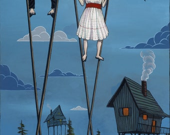 Delicate Balance, Stilts, house on stilts, circus, colorful, characters, pop surrealism, lowbrow, blue, acrylic painting, juxtapoz, surreal