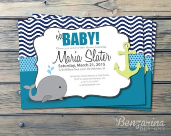 RUSH!!!  Baby Shower Invitation, Nautical Whales Waves Anchor, Teal, Lime green and Navy, Printable Digital Download DIY
