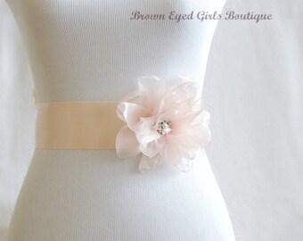 Blush Organza Flower Bridal Sash, Blush Bridal Belt, Blush Pink Wedding Belt