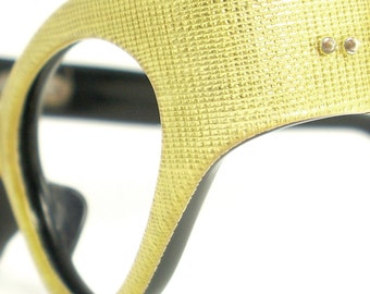 Vintage Cat Eye Glasses Eyeglasses Sunglasses Frame France Crosshatch Design Eyewear