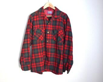 Vintage 70s 80s Red Green PENDLETON Wool Lumberjack Grunge Shirt // mens large