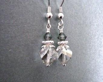 Silvery grey crystal earrings - bright Sterling Silver, geometric shape Swarovski crystal Silver Shade like silver ice, grey crystal jewelry