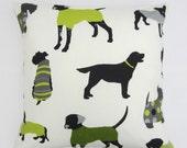 Lime Green Black and White, Dog print Cushion Cover, Dog theme pillow Cover, Dog Decor Pillow Cover 14 x 14, 16 x 16