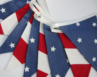 Stars and Stripes Bunting, American Flag Bunting, Patriotic Flag Banner, Independence Day, Red White and Blue, Fabric Bunting, Various Sizes