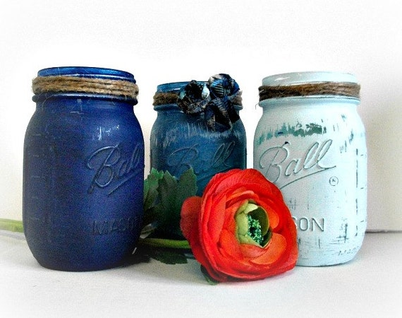 mason jar centerpiece home decor rustic painted ball jars