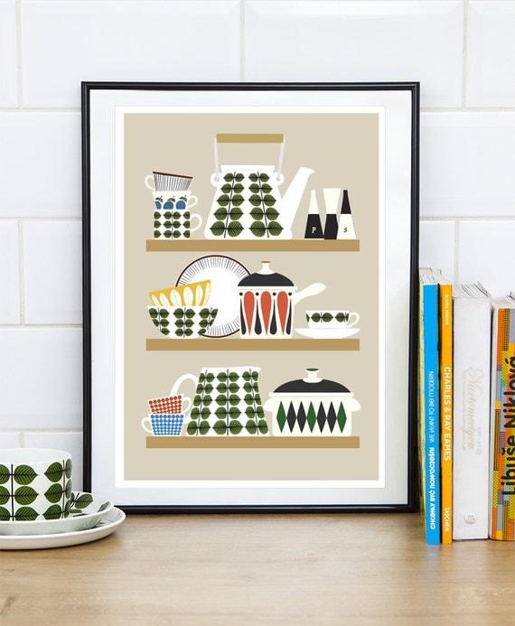 Retro Kitchen Artwork: Retro Kitchen Print Art For Kitchen Kitchenware Print Stig