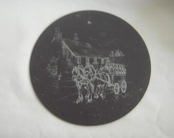 Vintage Slate Wall Hanging with Printed Shire Horses,Barrow Cart,Cart horse,Village life, beer Barrows  Printed /Painted Image