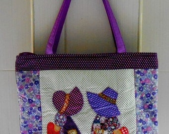 Patchwork Handbags, Tote Bag, Sue tote bag, Quilted bag Purple Color, Cotton Fabric Shopping Bag