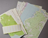 "Recycled Vintage Topographic Map Stationery Set 14 Envelopes and 14 Sheets 8.5"" x 11"" Map Paper Labels Included"