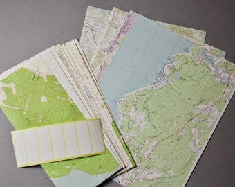 """Recycled Vintage Topographic Map Stationery Set 14 Envelopes and 14 Sheets 8.5"""" x 11"""" Map Paper Labels Included"""