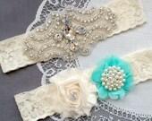 Wedding Garter Bridal Garter TEAL BLUE Garter Set Lace Garter Ivory Rhinestone Crystal Pearl Garter Beach Wedding GR147LX