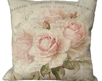 Romantic Shabby and Chic Faded Pale Pink Roses in Choice of 14x14 16x16 18x18 20x20 22x22 24x24 26x26 inch Pillow Cover