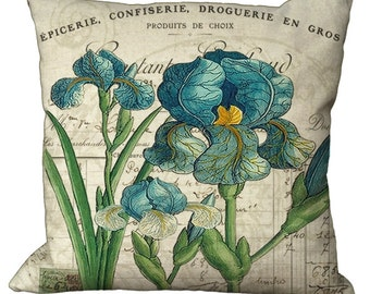 Blue Irises on a French Invoice in Choice of 14x14 16x16 18x18 20x20 22x22 24x24 26x26 inch Pillow Cover
